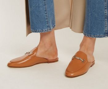 トッズ Cuoio T-bar leather backless loafers